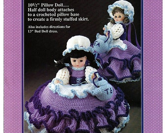 Polly Put The Kettle On Pillow Doll, Music Box Doll, or Bed Doll Crochet Pattern Fibre Craft FCM166