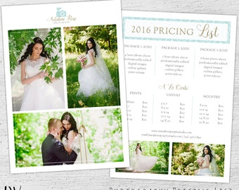 Wedding Photography Pricing Template, Photoshop Template, Marketing, Price Sheet, Photography Price List, Photographer, Pricing Guide 01-009