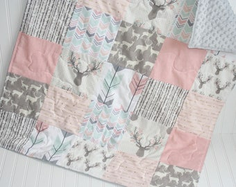 baby quilt-baby girl quilt- woodland baby quilt- fawn baby girl bedding-minky baby quilt- pink baby quilt- arrow baby quilt- deer baby quilt