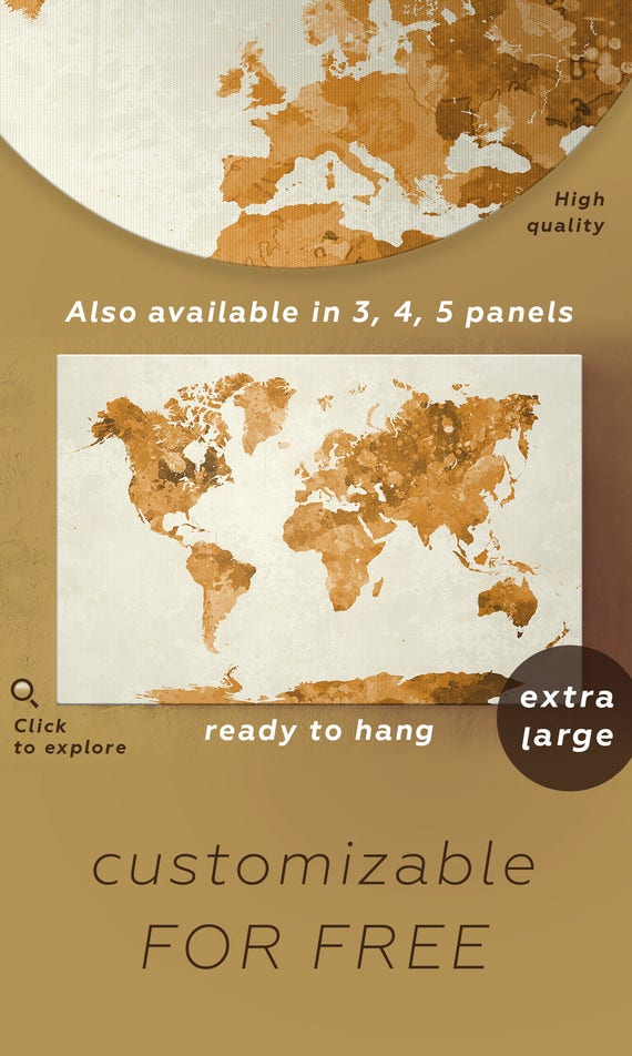 Large gold watercolor world map golden world map gold world like this item gumiabroncs Image collections
