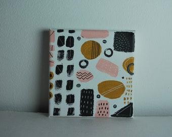 Abstract art, geometric, pattern, white, pink, black, ochre, modern, design
