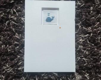 Whale Handmade Cross Stitch Greeting Card