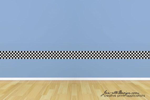 Wall Decals Kids Checkered Wall Border Racing Wall Art Race