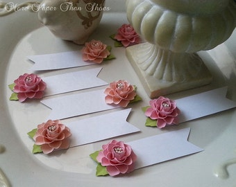 Place Cards, Paper Flower Place Cards, Wedding Place Cards, Flower Place Cards, Pink Paper Flowers, Set of 12 - Custom Made, Any Color Combo