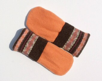 Felted Wool Sweater Mittens Creamsicle, Pink and Brown, Fleece Lined Mittens, Sweater Mittens, Gift under 22, Gift for Her, Wearable Art