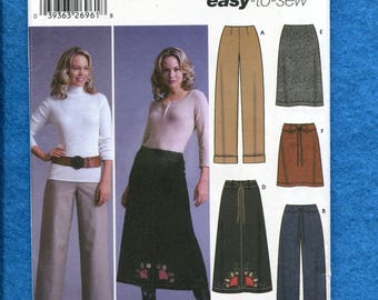 Simplicity 5459 Hip Hugger Pants and A-Line Skirts Pattern Size 6 to 12 UNCUT