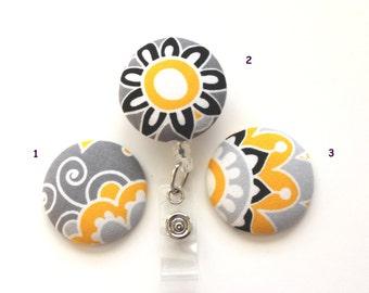Abstract Yellow & Black Flowers ID Badge Reel/Nurse/Doctor/Medical/Teacher/School/Office