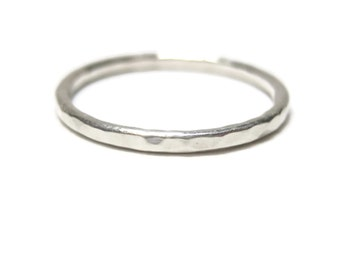 Simple 2mm Hammered Sterling Minimalist Stacking Band Ring Size 9