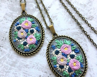 Embroidered necklace. Purple flower necklace. Floral necklace