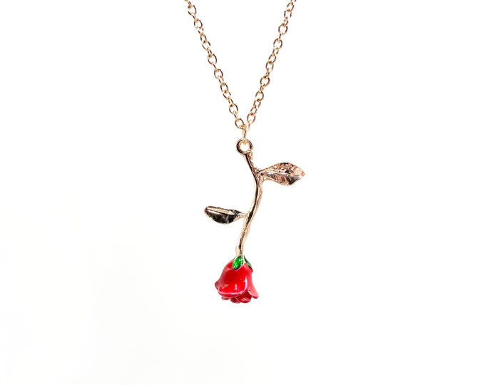 BLEEDING ROSE: rose gold rose necklace