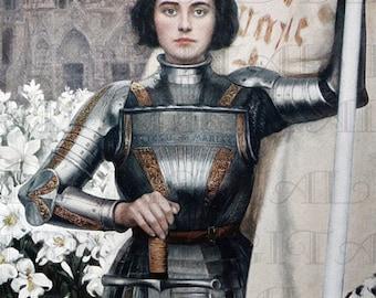 Spectacular JOAN of Arc! Digital Download. Digital Vintage Illustration.  Digital Vintage Joan Of Arc Printable Image.