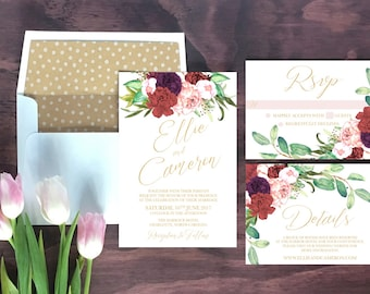 Marsala Floral Wedding Invitation // Romantic Invitation Suite // Wedding Invitations // Wedding Stationery // Modern // Gold // Burgundy