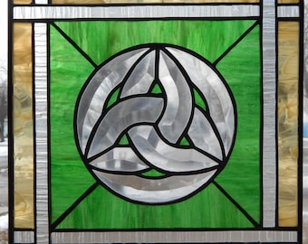 Celtic Knot beveled glass stained glass panel