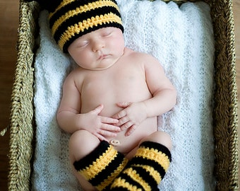 Handmade Crochet Bee Hat and leg warmers; Baby Hat