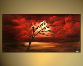 Original Tree Painting Red Landscape Abstract Contemporary Acrylic Painting by Osnat - MADE-TO-ORDER