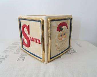 Vintage Christmas Santa Elf Toy Block Ceramic Planter