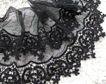 1 Yard Cotton lace trim, black tulle flower embroidery lace trim, 8.7 inches wide black lace
