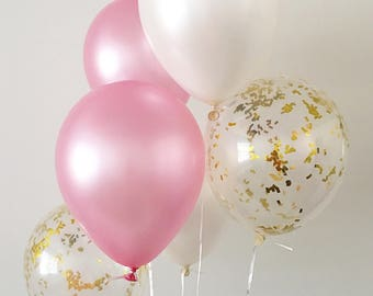 Pink and Gold Confetti Latex Balloons Pink and Gold Party First Birthday Bridal Shower Balloons Baby Shower Pink and White Party Supplies