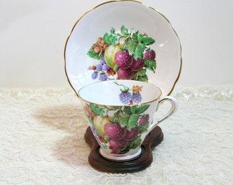 Tuscan Fine English Bone China Tea Cup And Saucer With Fruit Design