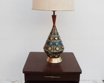 Vtg Mid Century Danish Ceramic Textural and Geometric Table Lamp- Turquoise Gold Green