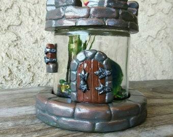 Marimo Moss ball Terrarium - Live Aquatic Plant - Polymer clay - OOAK - Knights Tower