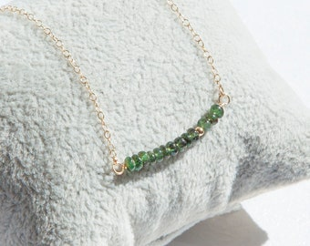 Emerald Necklace, Emerald Bar Necklace, Emerald Jewelry, Real Emerald Necklace Gold, May Birthstone Necklace, Boho Layering Necklace