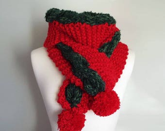 Hand Knit Festive Scarf, Christmas Knit Scarf, Red Green Knit Scarf, Unisex Holiday Scarf, Unisex Festive Scarf, Winter Holiday Scarf