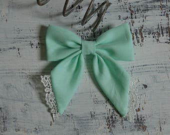 Turquoise/ Pastel Green with White Lace Sailor Hair Bow