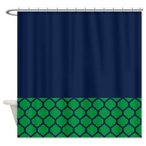 Quatrefoil shower curtain navy blue and green pattern or for Quatrefoil bathroom decor