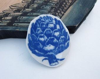 Artichoke vegetable porcelain delft blue vegan brooch Australia