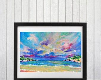 Landscape Art Print, Tropical wall art, Beach wall art, Ocean art,  Seascape, Beach painting, Cloud painting, Brightly colored
