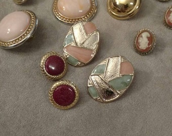 Earrings Lot, Destash, Posts, Clip On Cameo, Art Assemblage, Repair and Wearable, Re-purposing