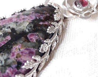 Eudialyte and Sterling Silver Pendant Necklace - Flower Pendant - Eudialyte Jewelry - Floral Jewelry - Red Stone Necklace