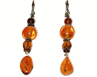 Topaz and Amber Earrings, topaz, amber, gemstone, dangle earrings, boho, gold earrings, gift for women, statement earrings, drop earrings