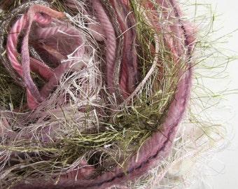 Fiber Art Yarn Bundle - Fringe Yarn -  Antique Rose 4 - 22yds - Pink and Green