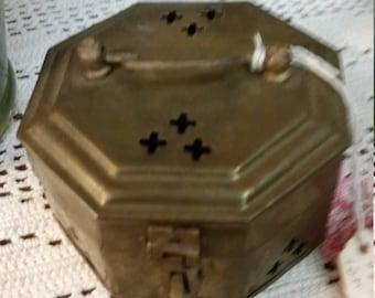Octagonal Brass Cricket Box 1970s