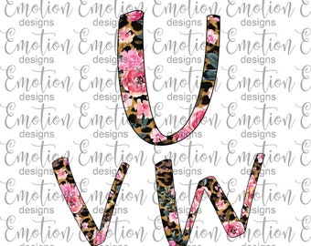 UVW Leopard Print Floral Alphabet Clip Art, instant download