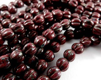 50 Dark Red Melon Czech Round Opaque Picasso Glass Beads 5mm 1mm hole - 50 pc - G6086-RDP50