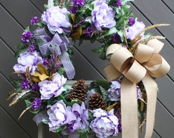 Spring Wreath, Luxury Door Wreath, Thanksgiving Wreath, Fall Door Wreath, Large Peony Wreath, Floral Home Decor, Country Chic Home