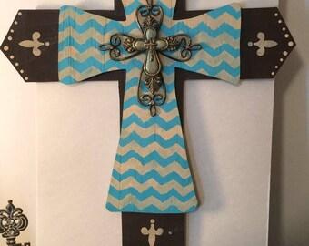 Chevron Turquoise Cross