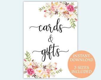 Cards and gifts sign Wedding decor Floral design gifts and cards Bridal Shower sign Printable pdf sign Reception sign 5x7 8x10 10x20 inches