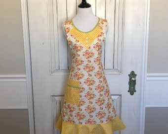 Yellow floral sunshine apron
