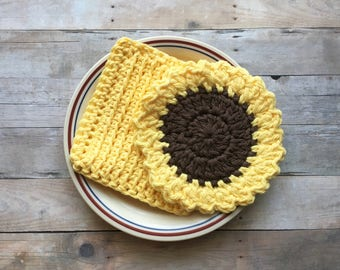 Crochet Sunflower Dishcloth, Kitchen Dishcloth Set, Crochet Scrubbies, Gift Set, Handmade by KathysYarnCreations