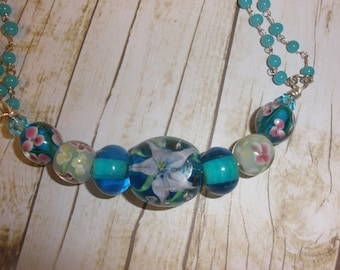 Blue Spider Lilly Lampwork Bead Necklace