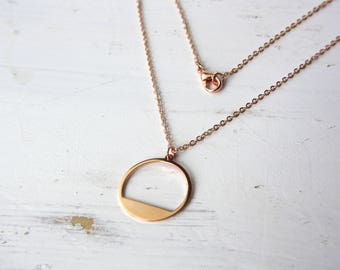 Rose gold circle - gold-plated necklace C66