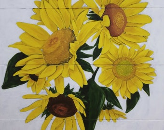 Acrylic Sunflower Painting 24 x 24 inches