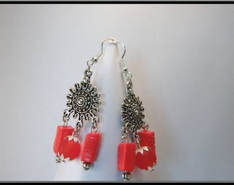 Earrings Pearl rectangle red Fimo and frosted beads.