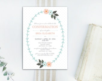 INSTANT DOWNLOAD Confirmation invitation / girls Confirmation invitation / floral Confirmation invitation / modern Confirmation invitation