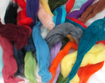 100% 20-21 Micron Merino Wool  Scraps in a Mix of Colors for Spinning, Felting, Crafts