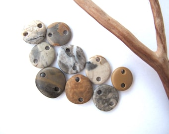 Rock Links Mediterranean Beach Stone Links River Rock Beach Pebble Diy Jewelry Beads River Stone Connectors Small EARTHY LINKS 13-16 mm